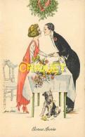 Illustrateur Sager, Bonne Année, Couple à Table S'embrassant Sous Le Gui, Chien... - Sager, Xavier