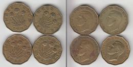 Grande Bretagne 3 Pence 1942 + 1943 + 1944 + 1945 - F. 3 Pence