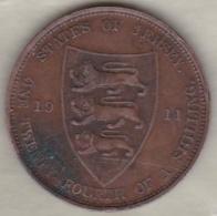 Jersey , 1/24 Shilling 1911. George V , Bronze , KM# 11 - Jersey