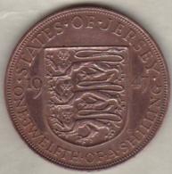 Jersey , 1/12 Shilling 1947. George VI , Bronze , KM# 18 - Jersey