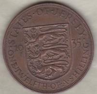 Jersey , 1/12 Shilling 1935. George V , Bronze , KM# 16 - Jersey