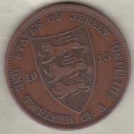 Jersey , 1/12 Shilling 1913. George V , Bronze , KM# 12 - Jersey