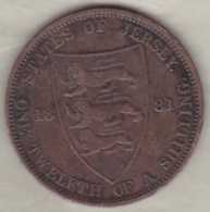 Jersey , 1/12 Shilling 1881. Victoria , Bronze , KM# KM# 8 - Jersey