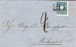 1860- Lettera Di UDINE  Per Milano Affr. N° 32 Tipo II  ( Sassone)  + Tassa 2 - Lombardo-Venetien