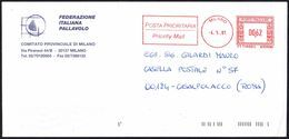 VOLLEYBALL - ITALIA MILANO 2001 - METER / EMA FEDERAZIONE ITALIANA PALLAVOLO - COMITATO PROVINCIALE MILANO - VIAGGIATA - Pallavolo