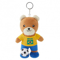 FIFA WORLD CUP 2018 - BRAZIL 17cm SOFT TEDDYBEAR MASCOT WITH KEY-RING - BIG C THAILAND LIMITED ISSUE - Apparel, Souvenirs & Other