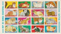 Guinée Equatoriale - 1 Feuillet De 16 Timbres - Les Chats - Hauskatzen