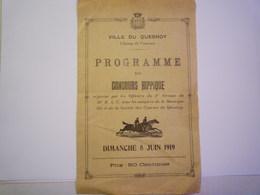 LE QUESNOY  (Nord)  :  PROGRAMME Du  CONCOURS HIPPIQUE  8 Juin  1919    - Equitation