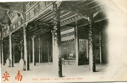 INDOCHINE CARTE POSTALE DE L'ANNAM -HUE -LA SALLE DU TRONE AYANT VOYAGEE - Postales