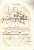 1837 - Gravure Sur Cuivre - Aigues-Mortes (Gard) - Croquis Des Environs - PRÉVOIR FRAIS DE PORT - Prenten & Gravure