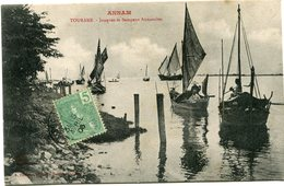 INDOCHINE CARTE POSTALE DE L'ANNAM -TOURANE -JONQUES ET SAMPANS ANNAMITES AYANT VOYAGEE - Postales
