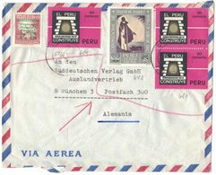 B177   PERU Chiclayo 1967 Cover Air Mail  To Germany Stamps  Canonisation Martin De Porres Mi.648, Peru Construye Mi.681 - Pérou