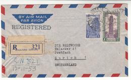 India / Airmail / Switzerland / Postmarks / Architecture - Inde