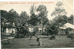 INDOCHINE CARTE POSTALE DE COCHINCHINE -GIA-DINH -ENVIRONS DE SAIGON -JARDINS DE L'INSPECTION AYANT VOYAGEE - Postales