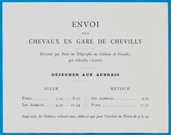 """Très Rare Carte """"ENVOI Des CHEVAUX En GARE De CHEVILLY"""" (45 Loiret) Château De Cossoles (Horaire Ferroviaire Train) - Europe"""