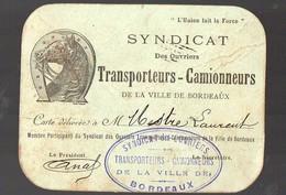 Bordeaux (33 Gironde) Carte Du Syndicat Des Transporteurs Camionneurs (PPP13561) - Old Paper