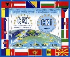 Moldova, 2008, Mi. 636-37 (bl. 43), Central European Initiative Organization, Flags, MNH - Moldova
