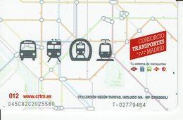 BUS METRO TRAIN TRAMWAY CARD PUBLIC TRANSPORT MADRID - SPAIN - Season Ticket