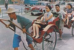 CHINE. HONG KONG. PLEASURE RIDES ON RICKSHAWS. CARTE AFFRANCHIE EN INDONESIE - Cina
