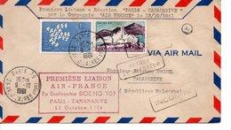 AIR FRANCE BOEING PARIS TANANARIVE MADAGASCAR AVION AVIATION ENVELOPPE OBLITERARTION CACHETS CACHET - Airmail