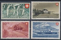 Switzerland Schweiz Suisse 1947 Mi 480 /3 YT 437 /0 Sc B162 /5 ** Occupations, Stations / Berufe + Bahnhöfe / Gare - Zwitserland