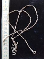 Chaine Et Pendentif Salamandre En Argent - Necklaces/Chains