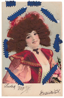 CARTE à SYSTÈME : PORTRAIT De FEMME Avec AJOUTIS : CHEVEUX VERITABLES - WOMAN With NATURAL HAIR ~ 1900 - RRR !!! (ab817) - Frauen