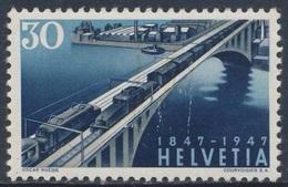 Switzerland Schweiz Suisse 1947 Mi 487 YT 444 Sc 311 * MH- Lorraine Bridge, Berne / Eisenbahnbrücke + Zügen - Treinen