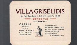 Bordeaux (33 Gironde) Carte VILLA GRISELIDIS  Traiteur (PPP13569) - Advertising