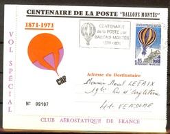 """LETTRE Pour Le CENTENAIRE DE LA POSTE """"BALLONS MONTES"""" NUMEROTEE Par VOL SPECIAL - FDC"""