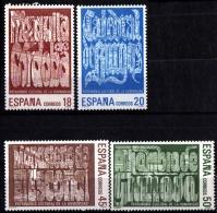 Spain 1988 Unesco World Heritage 4 Values MNH Cordoba Mosque, Burgos Cathedral Escorial Cloister Alhambra Granada - Chiese E Cattedrali