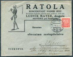 Nedvedice Ratola Advertising Cover + Letter. Grim Reaper, Death Skeleton, Chemist Medical Drogerie, Ludvik Mayer - Czechoslovakia