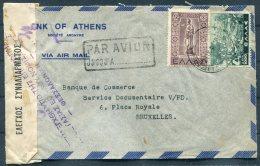 Greece Bank Of Athens Censor Airmail Cover - Banque De Commerce, Bruxelles Belgium. Jusqu'a Par Avion - Greece