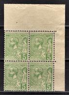** MONACO 1885 / 1914  - BLOC DE 4 TP  /  Y.T. N°  22 - COIN DE FEUILLE NEUFS** - Monaco