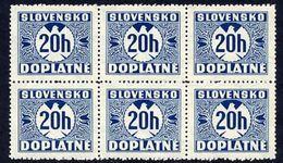 SLOVAKIA 1940-41 Postage Due With Watermark 20 H Block Of 6 MNH / ** .  Michel Porto 15 - Slovakia