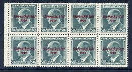 SLOVAKIA 1939 Overprinted Definitive 50 H Benes. Block Of 8 MNH / ** .  Michel 8 - Unused Stamps
