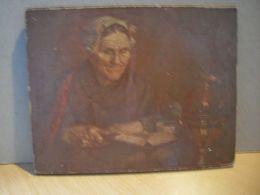 Petit Cadre En Bois Avec Image/carton Collé D'une Grand Mère Lisant - Autres Collections