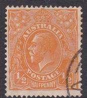 Australia SG 124 1933 King George V,half Penny Orange, C Of A Watermark, Used - 1913-36 George V : Têtes