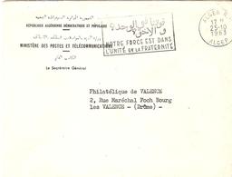 """Algérie 1963 - Lettre D' Alger à Valence - Flamme Bilingue """"Notre Force Est Dans L'union Et La Fraternité"""" - Algérie (1962-...)"""