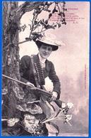 A. BERGERET CARTE HUMORISTIQUE FANTAISIE VERS 1900 N° 5 LA CHASSE NON ÉCRITE FEMME A L'AFFUT- NOTRE SITE Serbon63 - People