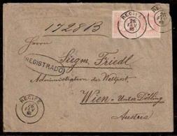 BRAZIL. 1886. Recife - Austria. Registered Fkd Small Head D. Pedro. 200rs Pair / Cds. VF.. Cartas - Non Classés