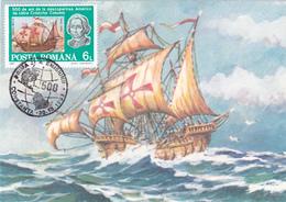 Carte-Maximum ROUMANIE N° Yvert 4020 (SANTA MARIA - Caravelle De Christophe COLOMB) Obl Sp Ill 1er Jour - Cartes-maximum (CM)
