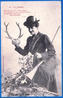 A. BERGERET CARTE HUMORISTIQUE FANTAISIE VERS 1900 N° 4 LA CHASSE NON ÉCRITE FEMME - NOTRE SITE Serbon63 - People