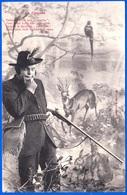A. BERGERET CARTE HUMORISTIQUE FANTAISIE VERS 1900 N° 2 LA CHASSE NON ÉCRITE HOMME - NOTRE SITE Serbon63 - People