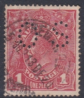 Australia SG O39 1914 King George V,1d Carmine,perforated Small OS, Used - 1913-36 George V : Têtes
