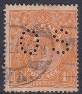 Australia SG O41 1914 King George V,4d Orange,perforated Small OS, Used - 1913-36 George V: Heads