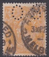 Australia SG O41a 1915 King George V,4d Yellow Orange,perforated Small OS, Used - 1913-36 George V: Heads