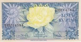 BILLETE DE INDONESIA DE 5 RUPIAH AÑO 1959 (FLOR-FLOWER-PAJARO-BIRD) (BANKNOTE) SIN CIRCULAR-UNCIRCULATED - Indonesia
