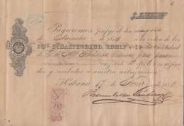 E6005 CUBA SPAIN ESPAÑA COLONIES. 1873. GIROS REVENUE STAMP. BANK SCHARFENBERG. - Cheques & Traveler's Cheques