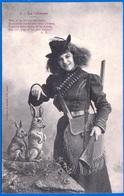A. BERGERET CARTE HUMORISTIQUE FANTAISIE VERS 1900 N° 7 LA CHASSE NON ÉCRITE FEMME - NOTRE SITE Serbon63 - People